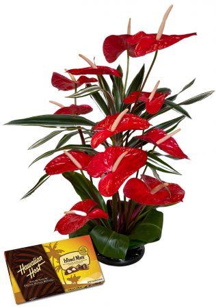 Hawaiian Valentine flowers & chocolates