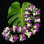Purple & White Dendrobium Lei with Ti-leaf accents